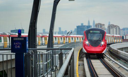 MRT Putrajaya Line trains being put through their paces during FFR testing near the Kampung Batu MRT Station.